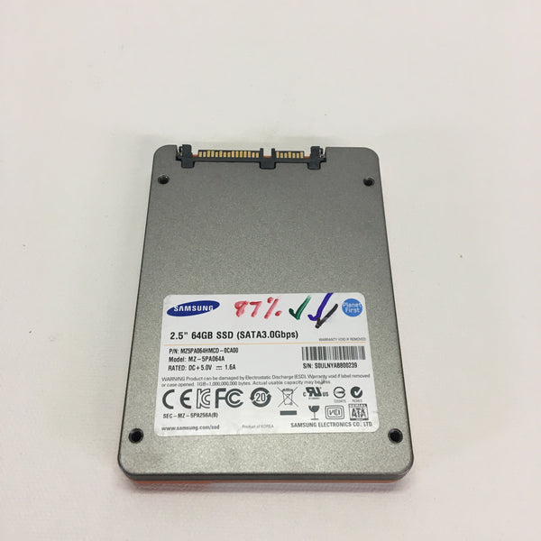 Samsung 64GB Laptop Solid State Drive SSD MZ-5PA064A 2.5'' SATA