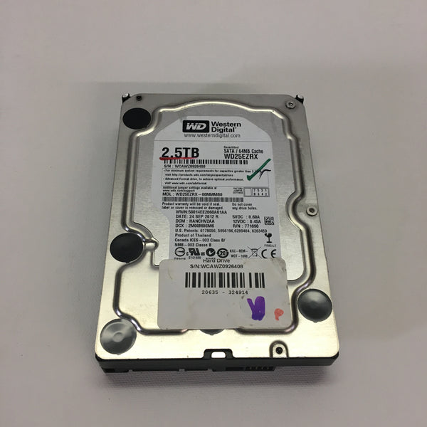 "Western Digital 2.5TB SATA 7200 RPM 3.5"" Internal Hard Drive 64MB Cache WD25EZRX"