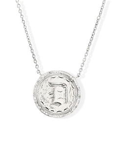 """D"" Love Token Pendant with Pave Diamond Halo"