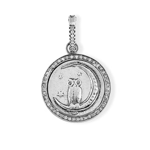 Sterling Silver Owl in Crescent Moon Love Token with Pave Diamond Halo