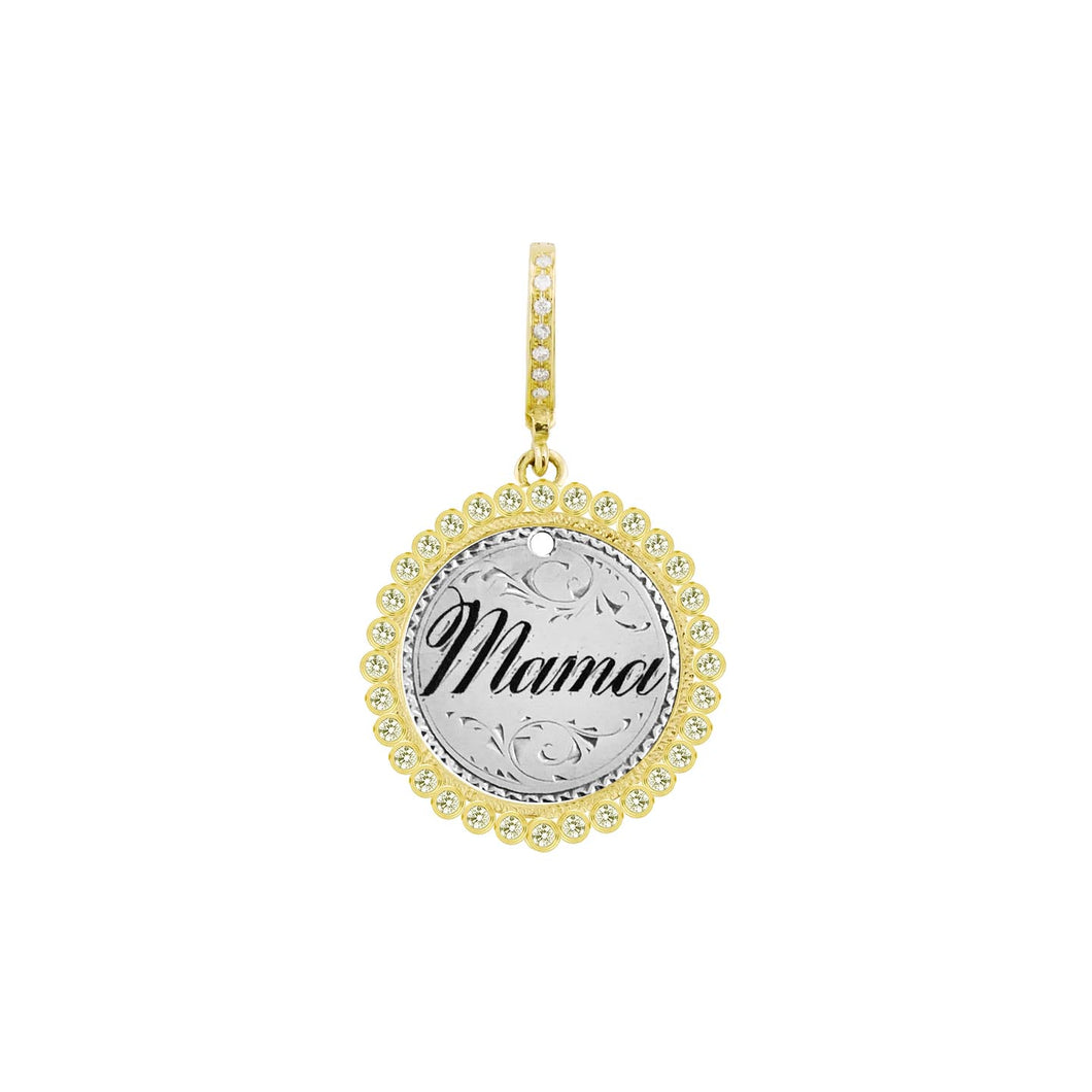 Enamel Mama Love Token in 14k Yellow Gold with Bezeled Diamonds