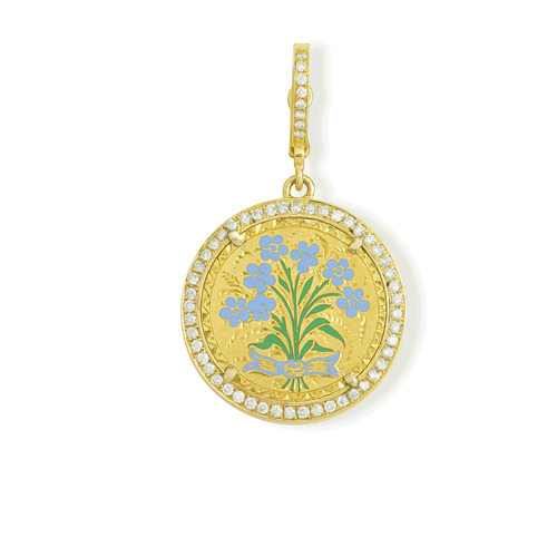 Enamel Forget Me Not Flowers on US Gold Liberty $3 Coin
