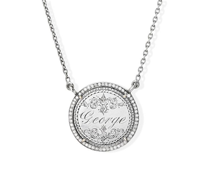 """George"" Love Token Pendant with Pave Diamond Halo"