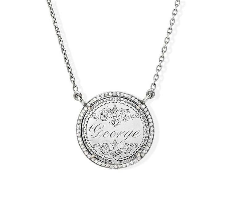 George Love Token in Sterling Silver & Pave Diamond Halo
