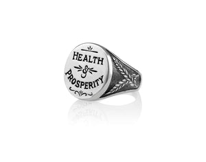 Sterling Silver Health and Prosperity Signet Ring