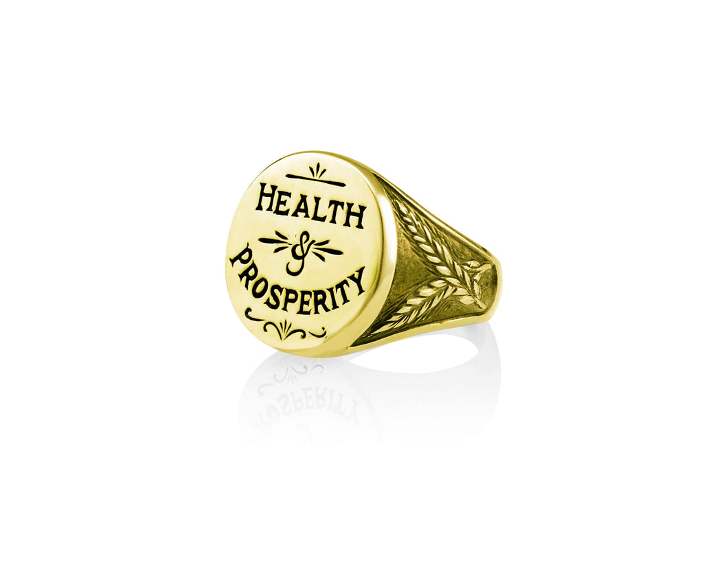 Health and Prosperity Signet Ring