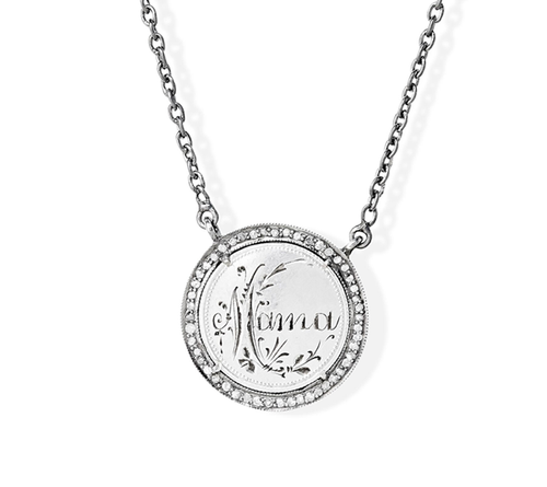 Mama Love Token in Pave Halo Created from German Pfenning Coin