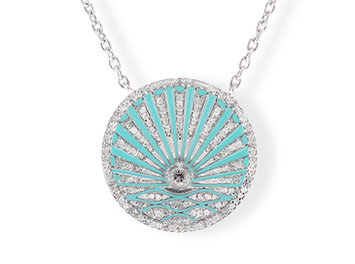 Diamond, Enamel and Topaz Sunrise Necklace