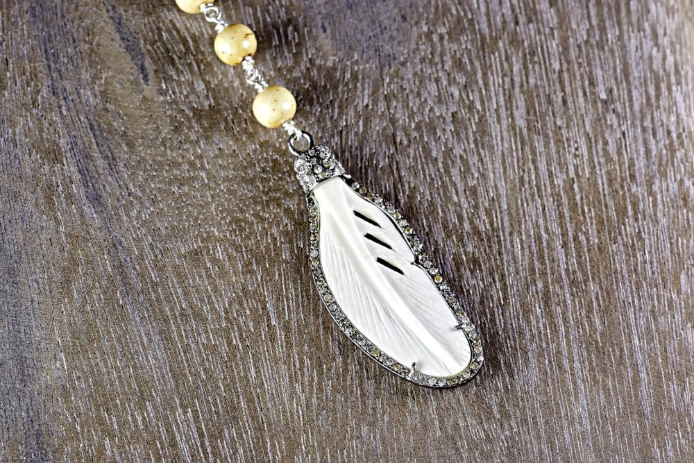 Bone Feather Pendant with Tea-Dyed Bone Bead Chain