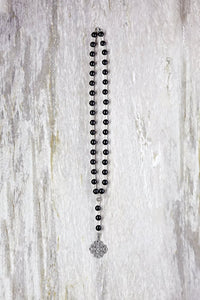 Pave Diamond Filigree Pendant with Black Onyx Bead Chain