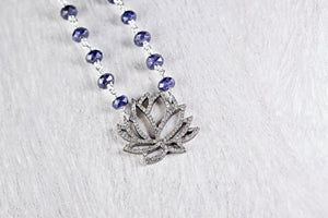 Pave Diamond Lotus Flower Pendant with Sapphire Bead Chain