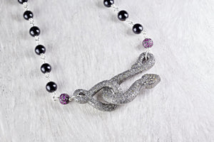 Pave Snake Choker Necklace with Pink Sapphire and Black Onyx Beads