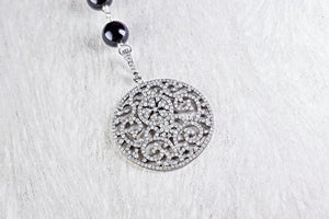 Pave Diamond Filigree Pendant with Pink Sapphire and Black Onyx Bead Chain