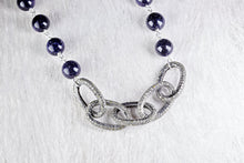 Pave Diamond Links with Blue Goldstone Bead Chain