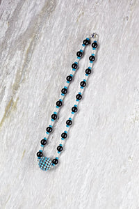 Black Agate and Turquoise Bead Choker Necklace