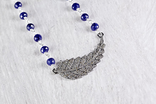 Pave Diamond Feather Choker Necklace with Sapphire Bead Chain
