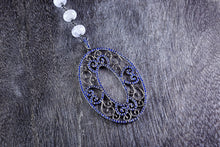 Filigree Sapphire Pendant with Blue Lace Agate Chain
