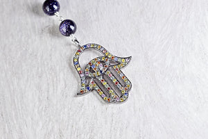 Mulit-Colored Pave Hamsa Pendant with Blue Goldstone Bead Chain