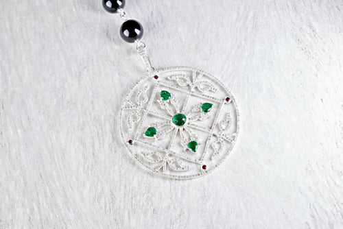 Pave Diamond Filigree Pendant with Emeralds and Rubies