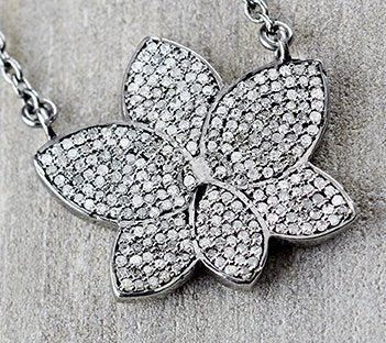 Sterling Silver Pave Diamond Orchid Pendant