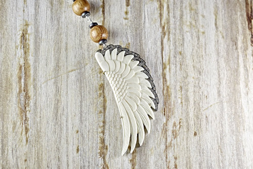Bone Angel Wing Pendant with Wood and Hematite Bead Chain