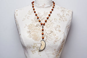 Fancy Pave Diamond and Bone Feather on White Coral