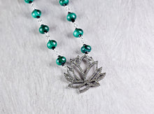 Pave Diamond Lotus Flower Pendant with Malachite Bead Chain