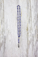 Pave Diamond Feather Pendant with Lapis Bead Chain
