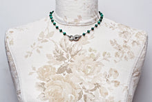 Pave Snake Choker Necklace with Malachite and Spinel Beads