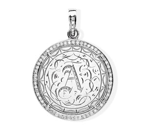 """A"" Initial Victorian Love Token with Diamond Bezel"