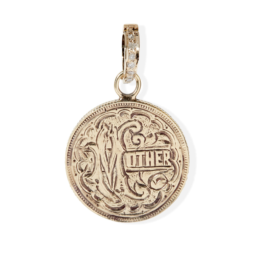 14k Yellow Gold Mother Love Token Pendant
