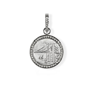 Brooklyn Bridge Love Token Pendant with Pave Diamond Halo