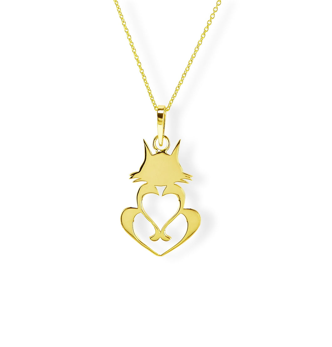 14k Gold Cat Necklace