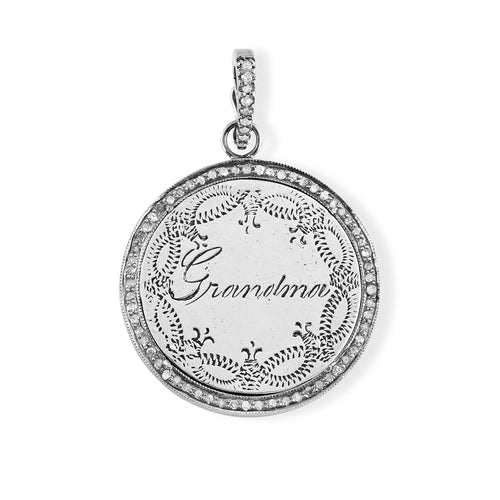 Grandma Love Token with Pave Diamond Halo