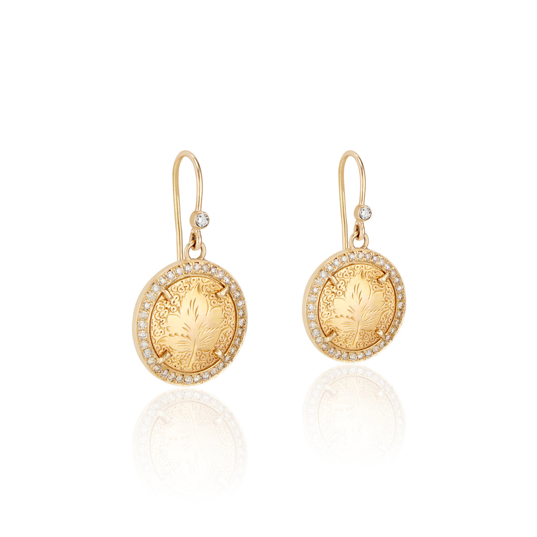 Maple Leaf Love Token Earrings with Pave Diamonds