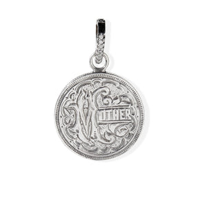 "Quarter-Sized Sterling Silver ""Mother"" Love Token Pendant"