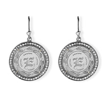 E Silver Love Token Earrings with Pave Diamonds