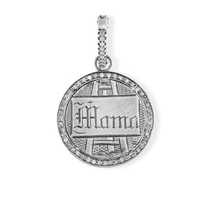 Mama on Easel Love Token with Pave Diamond Halo