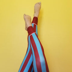 RedBlossom Stripe leggings with blue and brown colors. Stylish, durable, and hot fashion leggings. Get ready to stand out from the crowd! A real show stopper! Fabric is 82% polyester, 18% spandex. By RedButterfly by Omaris