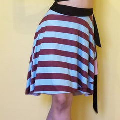 RedBlossom Stripe Wrap Skirt.  The full circle printed wrap skirt is designed to fill all the beautiful curves. Very comfy and unique style. One size skirt. by RedButterfly by Omaris