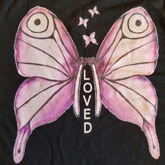 Women's Activewear. Comfortable Top with Purple Watercolor Butterfly on the back.  Soft fabric and great for layers. Get the matching outfit! Exclusive design by RedButterfly by Omaris.