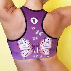 Women's Activewear. Comfortable Purple Sports Bra with soft fabric and watercolor butterflies. Get the matching outfit! Exclusive design by RedButterfly by Omaris.