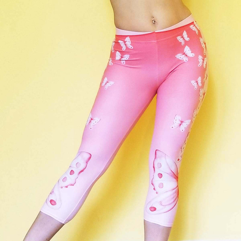 Women's Activewear. Comfortable Pink Capris leggings with soft fabric and watercolor butterflies. Get the matching outfit! Exclusive design by RedButterfly by Omaris.