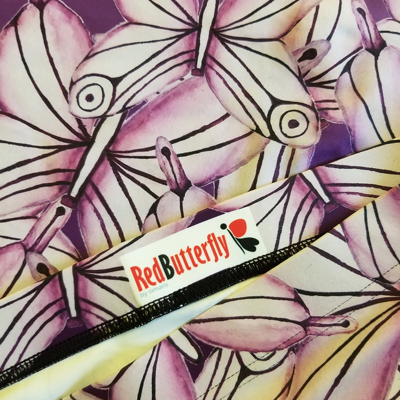 Elastic waistband  - Made with a smooth, comfortable microfiber yarn - Precision-cut and hand-sewn after printing - Exclusive design by RedButterfly by Omaris