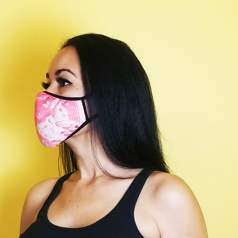 redbutterfly by omaris, face mask, face covering, breast cancer awareness