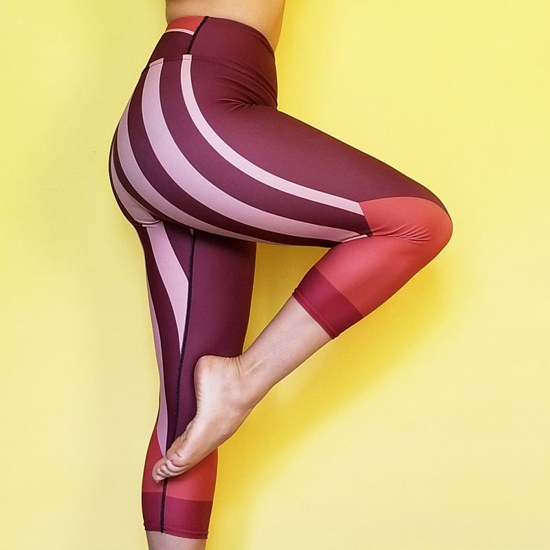 RedBlossom Brown Capris. Super soft and comfortable leggings for yoga, te gym and to work out. Decorated with beautiful stripes with earthy colors. Material has a four-way stretch. by RedButterfly by Omaris