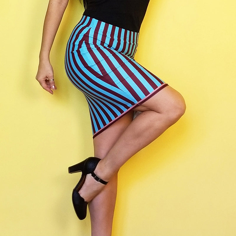 Redblossom Blue Stripes Pencil Skirt