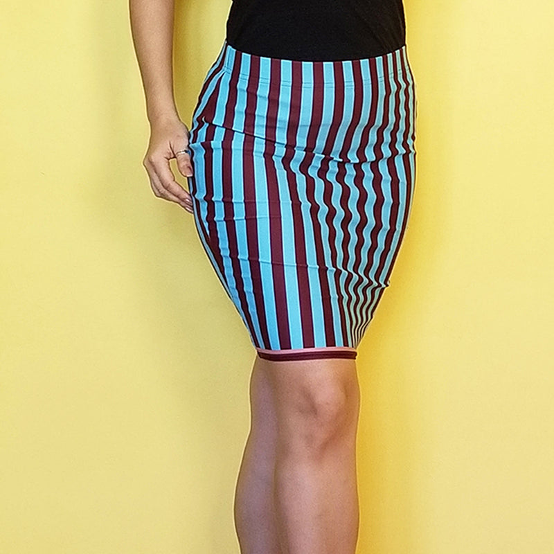 Use this skirt for casual wear and why not, for teaching dance classes.  Look great in all-over printed, body-hugging pencil style skirt with elastic waistband.  - Imported fabric: 82% polyester/18% spandex  - - Elastic waistband  - Made with a smooth, comfortable microfiber yarn - Precision-cut and hand-sewn after printing - Exclusive design by RedButterfly by Omaris