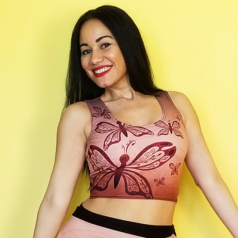 Look fabulous this crop top. Get your matching outfit. -- Made with a smooth, comfortable microfiber yarn - Precision-cut and hand-sewn after printing - Sweatproof - Exclusive design by RedButterfly by Omaris