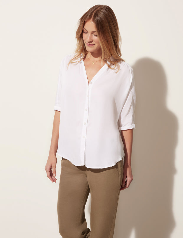 3/4 Sleeve Relaxed Button Down